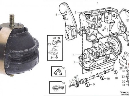 volvo 740 940 engine mount 8V OE 1378657 diagram