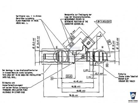 BOSCH 630cc injector dimensions